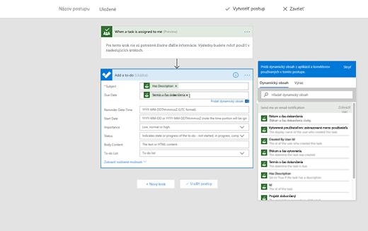 Snímka obrazovky zobrazujúca možnosť na pridanie dynamického obsahu