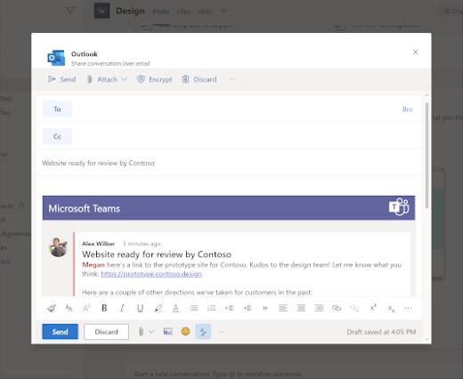 Zdieľanie chatu s Outlookom