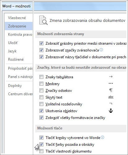 Začiarkavacie políčko Tlačiť farby pozadia a obrázky v dialógovom okne Word - možnosti