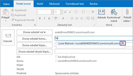 Snímka obrazovky zobrazuje možnosť Poslať znova pre e-mailovú správu. Funkcia automatického dokončovania poskytuje v poli Poslať znova komu e-mailovú adresu príjemcu na základe niekoľkých prvých zadaných písmen mena príjemcu.