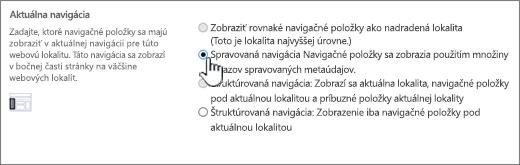 Sekcia Aktuálna navigácia s vybratou položkou Spravovaná navigácia