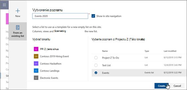 Vytvorenie zoznamu z existujúceho zoznamu v modernom prostredí SharePointu
