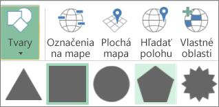 Možnosť Tvary aplikácie 3D Mapy