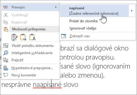 Používanie ponúk, ktoré sa zobrazia po kliknutí pravým tlačidlom myši, na kontrolu pravopisu