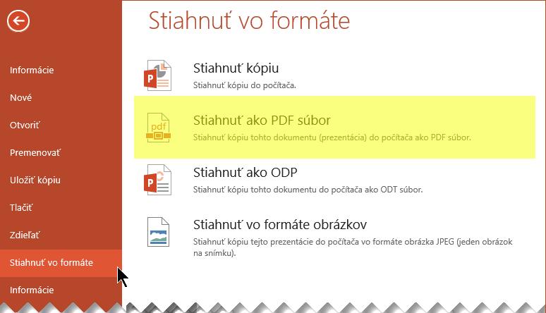 Vyberte položky Súbor > Stiahnuť ako > Stiahnuť vo formáte PDF
