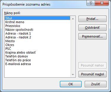 Dialógové okno Zoznam adries – prispôsobenie