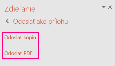 Zobrazí sa prepojenie Odoslať súbor PDF v PowerPointe 2016