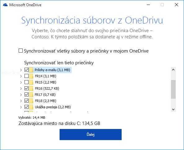 Selektívne synchronizácie knižnice OneDrive for Business priečinky
