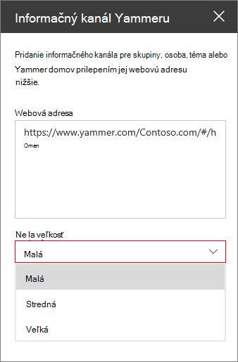 Pole Yammer informačných kanálov webová adresa
