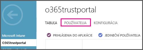 Zobrazuje ponuku služby Azure AD so zvýraznenou položkou POUŽÍVATELIA.
