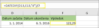 """=(DATEDIF(D13;E13;""""d"""")/7) a výsledok: 122,29"""