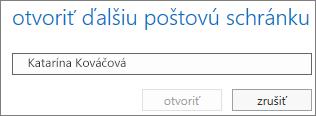Dialógové okno Otvoriť poštovú schránku iných používateľov vaplikácii Outlook Web App