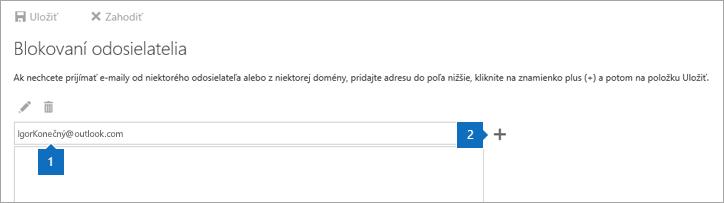 Snímka obrazovky so stránkou Blokovaní odosielatelia.