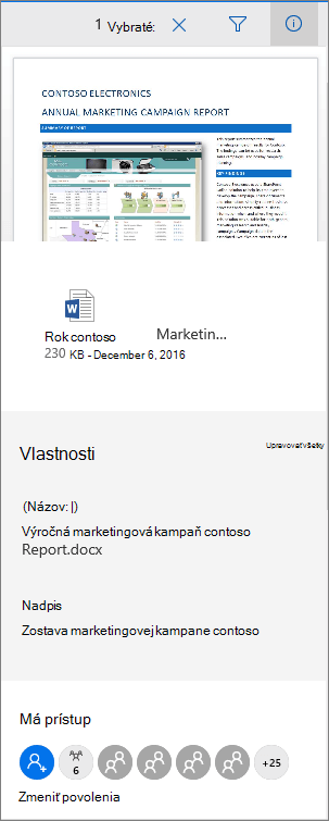 Panel s metaúdajmi dokumentu v službách Office 365