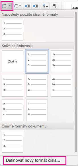 Karta Domov so zvýraznenou ikonou Číslovanie a položkou Definovať nový formát čísla.
