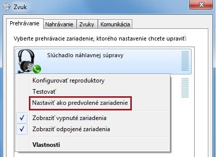 Nastaviť zariadenie vo Windowse ako predvolené