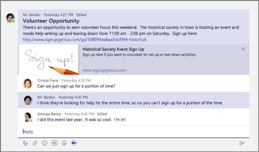 Začnite schôdzu zexistujúcej konverzácie výberom položky