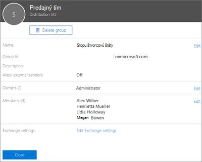 Snímka obrazovky: Pridanie kontaktu do distribučného zoznamu