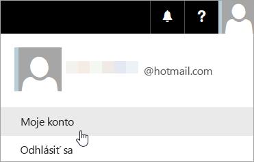 Snímka obrazovka zobrazujúca výber možnosti Moje konto v rozbaľovacom zozname