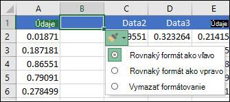 Obrázok tlačidla možnosti vloženia, ktoré sa zobrazí po vložení riadkov alebo stĺpcov.