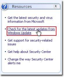 Vyberte položku > Ovládací panel > centrum zabezpečenia > Vyhľadať najnovšie aktualizácie zo služby Windows Update v Centre zabezpečenia systému Windows.