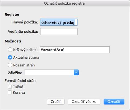 Zobrazenie možností dialógového okna Označiť položku registra