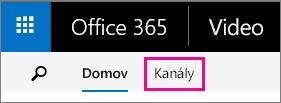 Tlačidlo Kanály vhornom navigačnom paneli portálu Office 365 Video