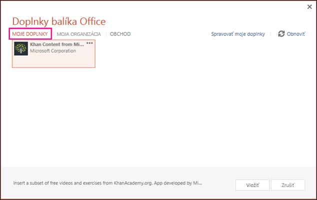 Dialógové okno Doplnky balíka Office so zvýraznenou položkou Moje doplnky