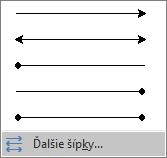 V dolnej časti ponuky Šípky kliknite na položku Ďalšie šípky.