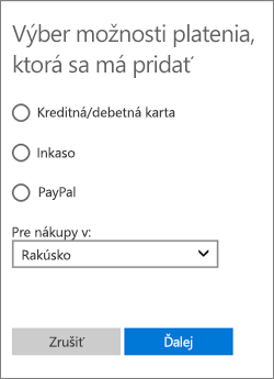 Ponuka Výber možnosti platenia zobrazujúca dostupné možnosti pre Rakúsko.
