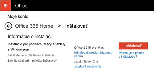 Druhá obrazovka inštalácie na stránke Moje kontá