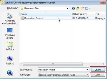Dialógové okno vytvoriť alebo otvoriť údajový súbor programu Outlook