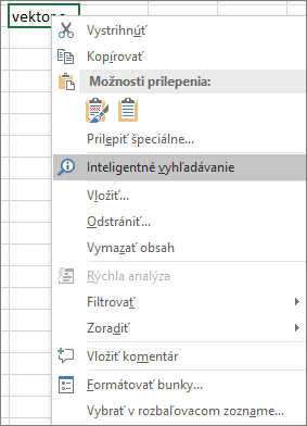 Inteligentné vyhľadávanie v kontextovej ponuke v Exceli 2016 pre Windows