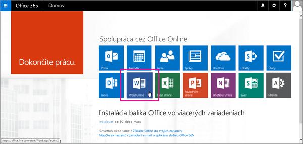 Vyberte aplikáciu služby Office Online