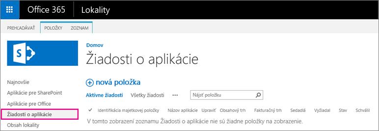 Snímka obrazovky zobrazujúca prepojenie na žiadosť oaplikáciu