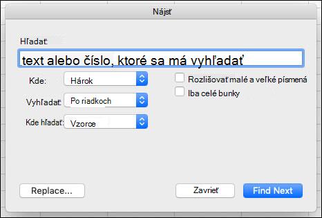 Vyhľadanie textu alebo čísel v zošite alebo hárku stlačením kombinácie klávesov CTRL + F