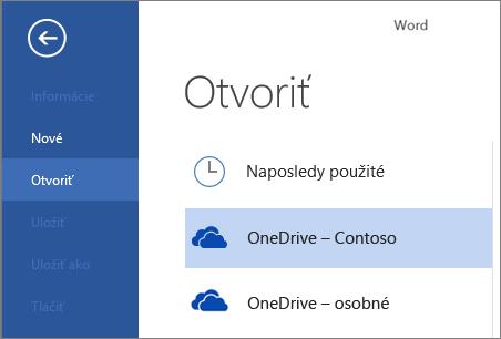 Otvorenie súboru z OneDrivu for Business vo Worde