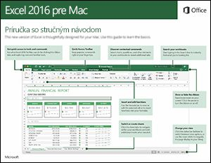 Príručka so stručným návodom pre Excel 2016 pre Mac