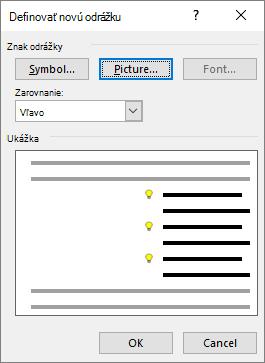 Nová obrazovka s odrážkami s vybratým obrázkom