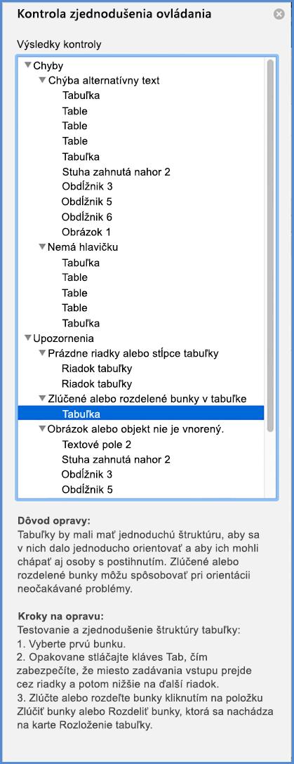 Snímka obrazovky s ponukou kontroly zjednodušenia ovládania