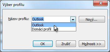 Vyberte profil dialógové okno