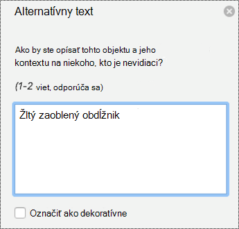 Tabla alternatívny text pre tvary v programe PowerPoint for Mac v službách Office 365