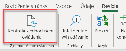 Snímka obrazovky používateľského rozhrania na otvorenie kontroly zjednodušenia ovládania