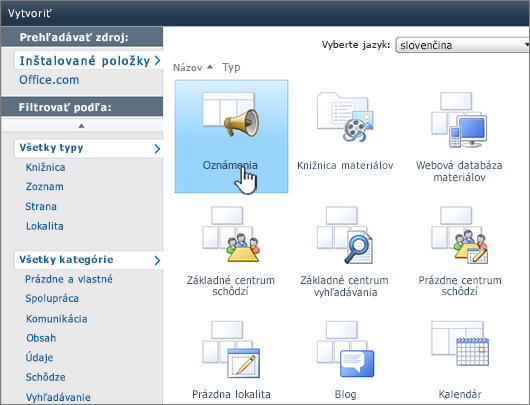 Stránka Vytvoriť zoznam alebo knižnicu v SharePointe 2010 so zvýraznením oznámení