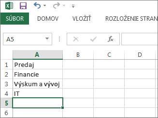 Vytvorenie rozbaľovacieho zoznamu položiek vjedinom stĺpci alebo riadku vExceli