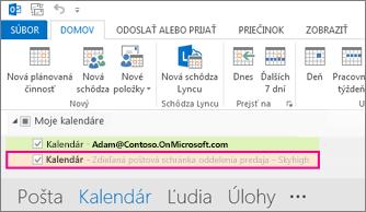 Zdieľaný kalendár sa v Outlooku zobrazuje v zozname priečinkov
