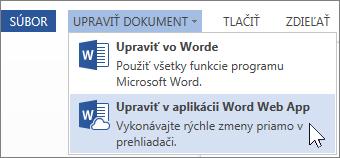 Úpravy vo Worde Online