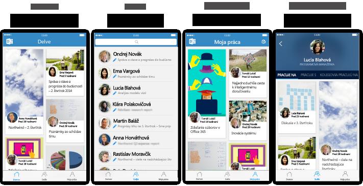 Štyri obrazovky Delve pre iPhone spopisným textom