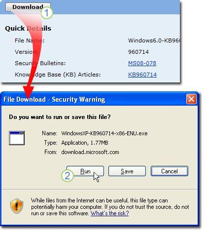 Na stránke sťahovania pre KB960714 vyberte položku Stiahnuť. A window showing File Download - Security Warning appears; vyberte položku Spustiť, aby sa súbor nainštaloval automaticky po stiahnutí.