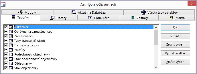 Dialógové okno Analýza výkonnosti vAccesse